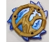 Part No: 69567pb03  Name: Ring 3 x 3 with Dragon Head and Satin Trans-Dark Blue Flames Pattern (Ninjago Storm Amulet)