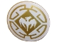 Part No: 75902pb12  Name: Minifigure, Shield Round with Rounded Front with Dragon and Decorative Lines White and Gold Pattern