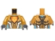 Part No: 973pb2242c01  Name: Torso Nexo Knights Armor with Orange Emblem with King Pattern / Pearl Gold Arms / Dark Bluish Gray Hands