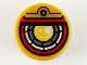 Part No: 98138pb146  Name: Tile, Round 1 x 1 with Yellow, Silver, White, and Red Robotic Eye Pattern