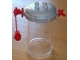 Part No: 45075c02  Name: Duplo Cart Lid Octagonal with 2 x 2 Studs, Trans-Clear Cylinder and Red Weight