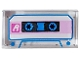 Part No: 3069bpb0696  Name: Tile 1 x 2 with Groove with Audio Cassette with White Letter A, Bright Pink Stripe, and Blue Trim Pattern