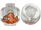Part No: 3626cpb1109  Name: Minifigure, Head (Without Face) 3-Eyed Orange Fish Pattern - Hollow Stud