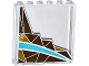 Part No: 59349pb100R  Name: Panel 1 x 6 x 5 with Silver and Gold Triangle Mosaic and White and Medium Azure Curved Stripes Pattern Right Side (Sticker) - Set 41106