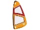 Part No: 93383  Name: Plastic Triangle 6 x 12 Sail with Orange and Red Pattern
