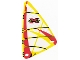 Part No: x772px5  Name: Plastic Triangle 9 x 15 Sail with Red Extreme Team Logo Pattern