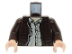 Part No: 973pb0131c01  Name: Torso Indiana Jones Leather Jacket, Button Down Shirt Pattern / Dark Brown Arms / Light Nougat Hands
