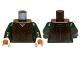 Part No: 973pb1282c01  Name: Torso LotR Tank Top over Dark Green Shirt Pattern / Dark Green Arms / Light Nougat Hands