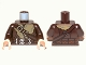 Part No: 973pb1290c01  Name: Torso LotR Coat with Fur Lining, Shoulder Strap and Double Silver Belt Pattern / Dark Brown Arms / Light Nougat Hands