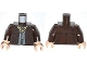 Part No: 973pb1427c01  Name: Torso Jacket with Dark Bluish Gray Vest and Dark Tan Ascot Pattern / Dark Brown Arms / Light Flesh Hands