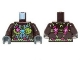 Part No: 973pb1473c01  Name: Torso Gorilla with Leaf Top and Belt, Pink Flowers and Blue Round Jewel (Chi) Pattern / Dark Brown Arms / Dark Bluish Gray Hands