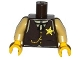 Part No: 973pb1872c01  Name: Torso Western Sheriff Star Badge, Vest, Gold Chain, Black Tie Pattern / Tan Arms / Yellow Hands