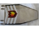 Part No: 30372pb01  Name: Windscreen 7 x 4 x 1 2/3 with Fire Logo Badge and White Chevrons Pattern (Sticker) - Set 7238