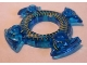 Part No: 98345pb02  Name: Ring 4 x 4 with 2 x 2 Hole and 4 Swirl Ends with Yellow Scales Pattern (Ninjago Spinner Crown)
