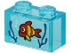Part No: 3065pb13  Name: Brick 1 x 2 without Bottom Tube with Red Fish with Yellow Stripes and Dark Blue Seagrass on Transparent Background Pattern (Sticker) - Set 60266