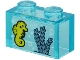 Part No: 3065pb14  Name: Brick 1 x 2 without Bottom Tube with Yellow Seahorse and Sand Blue Seagrass on Transparent Background Pattern (Sticker) - Set 60266