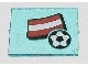 Part No: 3855pb011  Name: Glass for Window 1 x 4 x 3 with Flag of Austria and Soccer Ball Pattern (Sticker) - Set 3404