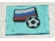 Part No: 3855pb013  Name: Glass for Window 1 x 4 x 3 with Flag of Russia and Soccer Ball Pattern (Sticker) - Set 3404