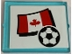 Part No: 3855pb016  Name: Glass for Window 1 x 4 x 3 with Flag of Canada and Soccer Ball Pattern (Sticker) - Set 3411