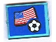 Part No: 3855pb021  Name: Glass for Window 1 x 4 x 3 with Flag of USA and Soccer Ball on Blue Background Pattern (Sticker) - Set 3406