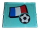 Part No: 3855pb030  Name: Glass for Window 1 x 4 x 3 with Flag of France and Soccer Ball Pattern (Sticker) - Set 3406