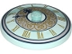 Part No: 3960pb047  Name: Dish 4 x 4 Inverted (Radar) with Solid Stud with Clock Face Trans Light Blue with Gold Roman Numerals and White Circle with Gold Scrolls Pattern
