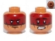 Part No: 3626bpb0967  Name: Minifigure, Head Dual Sided Dark Red Face Paint Determined / Scared Pattern (Red Knee) - Blocked Open Stud