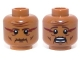 Part No: 3626cpb0961  Name: Minifigure, Head Dual Sided Wrinkles and Dark Red Face Paint, Mouth Closed / Mouth Open Scared Pattern - Hollow Stud