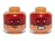 Part No: 3626cpb0967  Name: Minifigure, Head Dual Sided Dark Red Face Paint Determined / Scared Pattern (Red Knee) - Hollow Stud