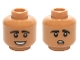 Part No: 3626cpb1462  Name: Minifigure, Head Dual Sided Black Eyebrows, White Pupils with Open Mouth Smile / Worried Pattern (Raj Koothrappali) - Hollow Stud