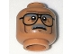 Part No: 3626cpb1715  Name: Minifigure, Head Glasses with Dark Gray Eyebrows and Moustache, Dark Brown Cheek Lines Pattern - Hollow Stud