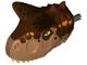 Part No: 38910c01pb01  Name: Dino Head Carnotaurus with Pin, Tan Teeth, Reddish Brown Top and Dark Brown and Orange Spots Pattern