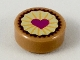 Part No: 98138pb094  Name: Tile, Round 1 x 1 with Pastry, Magenta Heart on Bright Light Yellow Icing Pattern