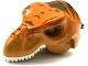 Part No: 98161c03pb01  Name: Dino Head Tyrannosaurus rex with Pin, White Teeth, Dark Orange Top and Dark Brown Stripes Pattern