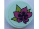 Part No: 14769pb355  Name: Tile, Round 2 x 2 with Bottom Stud Holder with Magenta Flower and Lime Leaves on Light Aqua Background Pattern (Sticker) - Set 41316