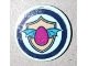 Part No: 14769pb360  Name: Tile, Round 2 x 2 with Bottom Stud Holder with Winged Magenta Egg and Tan Shield on Light Aqua Background with Dark Blue Border Pattern (Sticker) - Set 41173