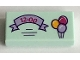 Part No: 3069bpb0428  Name: Tile 1 x 2 with Groove with Lavender Ribbon with '12:00' and 3 Balloons Pattern