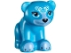 Part No: 14732pb04  Name: Bear, Friends / Elves, Cub, Sitting with Black Nose, White Face Decorations and Medium Blue Paws and Muzzle Pattern (Blubeary)