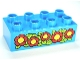 Part No: 3011pb036  Name: Duplo, Brick 2 x 4 with Red Flowers Pattern