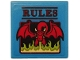 Part No: 3068bpb1284  Name: Tile 2 x 2 with Groove with Red 'RULES' and Dragon Blowing Lime Flames on Dark Azure Background Pattern (Sticker) - Set 75810