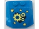 Part No: 45677pb120  Name: Wedge 4 x 4 x 2/3 Triple Curved with Yellow and Dark Blue Cogs Pattern (Sticker) - Set 41333
