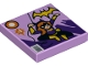 Part No: 3068bpb1059  Name: Tile 2 x 2 with Groove with Batgirl Comic Book Cover with Yellow Bat Logo, '1', and Bar Code Pattern