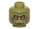 Part No: 3626cpb1042  Name: Minifigure, Head Alien with SW Neimoidian Warrior Green Wrinkles Pattern - Hollow Stud