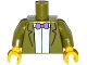 Part No: 973pb2006c01  Name: Torso Simpsons Jacket, White Shirt and Purple Bow Tie Pattern / Olive Green Arms / Yellow Hands