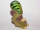 Part No: 98072pb02  Name: Dino Leg Large (Rear) Raptor Right with Pin, Tan Claws and Lime Stripes over Dark Green Pattern