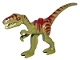 Part No: 98166pb02  Name: Dinosaur, Coelophysis / Gallimimus with Dark Red Stripes and Yellow Eyes Pattern