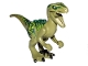 Part No: Raptor04  Name: Dinosaur, Raptor / Velociraptor with Dark Green Back, Lime Markings and Black Claws (Jurassic World Charlie)