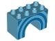 Part No: 11198pb01  Name: Duplo, Brick 2 x 4 x 2 Arch with Blue Half Circles Pattern