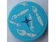 Part No: 14769pb354  Name: Tile, Round 2 x 2 with Bottom Stud Holder with Medium Azure Pillow and White Paintbrushes Pattern (Sticker) - Set 41336