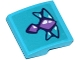 Part No: 15068pb065  Name: Slope, Curved 2 x 2 with Medium Lavender and Medium Azure Geometric Dragon Scales Pattern (Sticker) - Set 41172